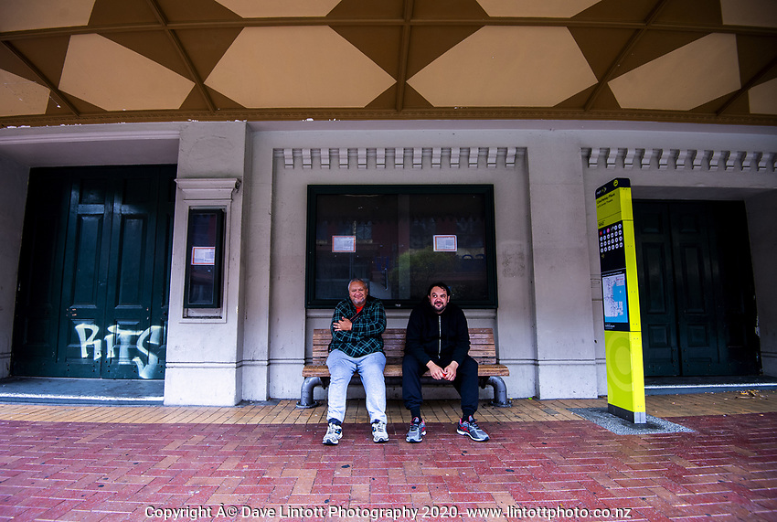 Brad and Greg chill. Courtenay Place at 2pm, Monday during lockdown for the COVID19 pandemic in Wellington, New Zealand on Monday, 27 April 2020. Photo: Dave Lintott / lintottphoto.co.nz