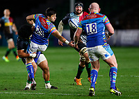 13th February 2021; Twickenham Stoop, London, England; English Premiership Rugby, Harlequins versus Leicester Tigers; Dan Cole of Leicester Tigers trying to get off load from Dan Kelly of Leicester Tigers while in a tackle from Elia of Harlequins