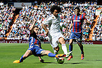 Real Madrid´s Marcelo Vieira and Eibar´s Borja Fernandez during 2014-15 La Liga match between Real Madrid and Eibar at Santiago Bernabeu stadium in Madrid, Spain. April 11, 2015. (ALTERPHOTOS/Luis Fernandez)