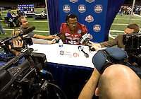 Dont'a Hightower of Alabama talks with the reporters during BCS Media Day at Mercedes-Benz Superdome in New Orleans, Louisiana on January 6th, 2012.