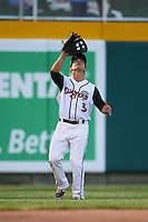 Lansing Lugnuts outfielder Chris Carlson (3) tracks down a fly ball during a game against the Peoria Chiefs on June 6, 2015 at Cooley Law School Stadium in Lansing, Michigan.  Lansing defeated Peoria 6-2.  (Mike Janes/Four Seam Images)
