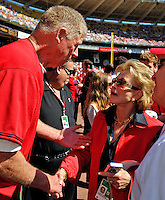 23 September 2007: Former Washington Senators third baseman Frank Howard (left) shakes hands with Washington Nationals Owner Annette Lerner prior to the very last professional baseball game played against the Philadelphia Phillies at Robert F. Kennedy Memorial Stadium in Washington, DC. The Nationals defeated the visiting Phillies 5-3 to close out the 2007 home season. The Nationals will open up the 2008 season at Nationals Park, their new facility currently under construction.. .Mandatory Photo Credit: Ed Wolfstein Photo