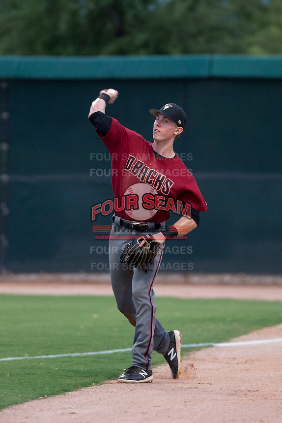 AZL Diamondbacks right fielder Kevin Watson Jr. (7) throws to the infield during an Arizona League game against the AZL White Sox at Camelback Ranch on July 12, 2018 in Glendale, Arizona. The AZL Diamondbacks defeated the AZL White Sox 5-1. (Zachary Lucy/Four Seam Images)