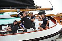 ZEILEN: WOUDSEND: Hegemer Mar, 28-07-2014, SKS skûtsjesilen, Skûtsje van Huizum met reserveschipper Gerrit Visser, ©Martin de Jong