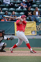 Ben Miller (44) of the Nebraska Cornhuskers bats against the Long Beach State Dirtbags in the first game of a doubleheader at Blair Field on March 5, 2016 in Long Beach, California. Long Beach State defeated Nebraska, 1-0. (Larry Goren/Four Seam Images)