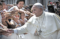 Pope Francis during his weekly general audience in St. Peter square at the Vatican, Wednesday.June 11, 2014.