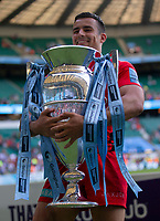 Saracens' Alex Lozowski with the trophy<br /> <br /> Photographer Bob Bradford/CameraSport<br /> <br /> Gallagher Premiership Final - Exeter Chiefs v Saracens - Saturday 1st June  2018 - Twickenham Stadium - London<br /> <br /> World Copyright © 2019 CameraSport. All rights reserved. 43 Linden Ave. Countesthorpe. Leicester. England. LE8 5PG - Tel: +44 (0) 116 277 4147 - admin@camerasport.com - www.camerasport.com