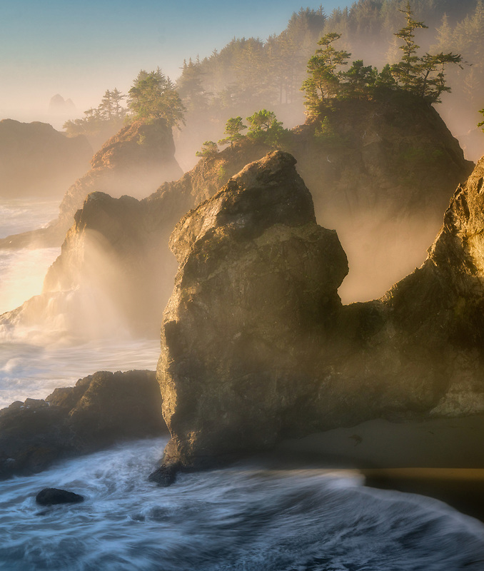 Coastline at sunset.Thunder <br /> Cove. Samuel H. Boardman State Park (Scenic Corridor), Oregon
