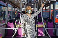 2020 07 31 Jane Reakes-Davies, First Cymru bus depot in Swansea, Wales, UK.