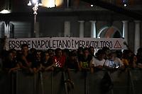 """""""being Neapolitan is wonderful"""" banner. <br /> Striscione """"Essere Napoletano e' meraviglioso"""" <br /> Napoli 05-07-2017  Napoli Piazza del Plebiscito<br /> Evento per il conferimento della cittadinanza onoraria a Diego Armando Maradona da parte del Comune di Napoli.<br /> Honorary Citizenship to Diego Armando Maradona<br /> By the City of Naples.<br /> Foto Cesare Purini / Insidefoto"""