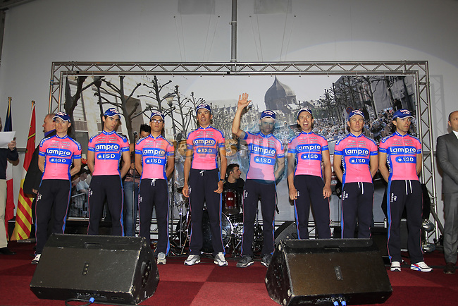 Lampre-ISD riders on stage at the team presentations at the Palais Provincial in Liege city centre before the 98th edition of Liege-Bastogne-Liege 2012. 21st April 2012.  <br /> (Photo by Eoin Clarke/NEWSFILE).