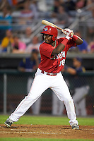 Auburn Doubledays outfielder Luis Guzman (26) at bat during a game against the State College Spikes on July 6, 2015 at Falcon Park in Auburn, New York.  State College defeated Auburn 9-7.  (Mike Janes/Four Seam Images)
