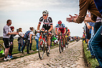 Group with Mike TEUNISSEN from the Netherlands of Team Sunweb at the 4 star cobblestone sector 11 of Mons-en-Pévèle during the 2018 Paris-Roubaix race, France, 8 April 2018, Photo by Pim Nijland / PelotonPhotos.com | All photos usage must carry mandatory copyright credit (Peloton Photos | Pim Nijland)