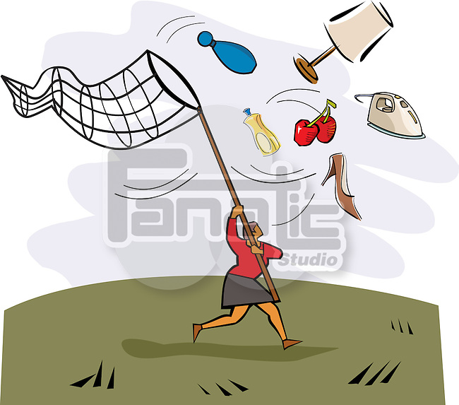 Woman using butterfly net to catch shopping products