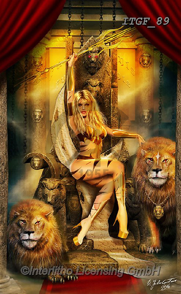 Gaetano, MODERN, MODERNO, paintings+++++The Lions' Queen,ITGF89,#n#, EVERYDAY ,fantasy,puzzles,gothic,pin-up,pin-ups