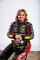 Feb 6, 2020; Pomona, CA, USA; NHRA pro stock driver Erica Enders poses for a portrait with her championship rings during NHRA Media Day at the Pomona Fairplex. Mandatory Credit: Mark J. Rebilas-USA TODAY Sports