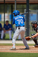 Toronto Blue Jays right fielder Amell Brazoban (70) at bat during a Florida Instructional League game against the Pittsburgh Pirates on September 20, 2018 at the Englebert Complex in Dunedin, Florida.  (Mike Janes/Four Seam Images)