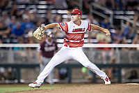 Louisville Cardinals pitcher Reid Detmers (42) delivers a pitch to the plate during Game 10 of the NCAA College World Series against the Mississippi State Bulldogs on June 20, 2019 at TD Ameritrade Park in Omaha, Nebraska. Louisville defeated Mississippi State 4-3. (Andrew Woolley/Four Seam Images)