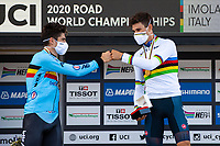 Picture by Alex Whitehead/SWpix.com - 25/09/2020 - Cycling - UCI 2020 Road World Championships IMOLA - EMILIA-ROMAGNA ITALY - Individual Time Trial Men Elite - Wout Van Aert of Belgium and Filippo Ganna of Italy on the podium after the Men's Elite Individual Time Trial. - SANTINI