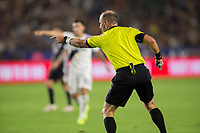 CARSON, CA - SEPTEMBER 15: Ted Unkel points to the penalty spot during a game between Sporting Kansas City and Los Angeles Galaxy at Dignity Health Sports Park on September 15, 2019 in Carson, California.