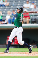 Buck Coats #20 of the Charlotte Knights follows through on his swing against the Rochester Red Wings at Knights Stadium August 1, 2010, in Fort Mill, South Carolina.  Photo by Brian Westerholt / Four Seam Images