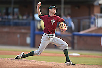 Savannah Sand Gnats starting pitcher Casey Meisner (15) delivers a pitch during a game against the Asheville Tourists on June 2, 2015 in Asheville, North Carolina. The Sand Gnats defeated the Tourists 4-1. (Tony Farlow/Four Seam Images)