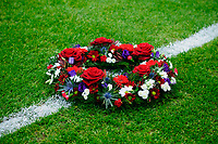 Sunday, 23 November 2012<br /> <br /> Pictured: Wreath Laid by Sir Bobby Charlton<br /> <br /> Re: Barclays Premier League, Swansea City FC v Manchester United at the Liberty Stadium, south Wales.