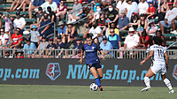 CARY, NC - SEPTEMBER 12: Angharad James #34 of the North Carolina Courage plays the ball during a game between Portland Thorns FC and North Carolina Courage at Sahlen's Stadium at WakeMed Soccer Park on September 12, 2021 in Cary, North Carolina.