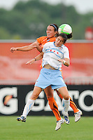 Karen Carney (14) of the Chicago Red Stars and Keeley Dowling (17) of Sky Blue FC go up for a header. The Chicago Red Stars defeated Sky Blue FC 2-1 during a Women's Professional Soccer (WPS) match at Yurcak Field in Piscataway, NJ, on August 01, 2010.