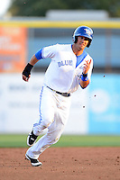 Dunedin Blue Jays first baseman Gabe Jacobo #8 during a game against the Tampa Yankees on April 11, 2013 at Florida Auto Exchange Stadium in Dunedin, Florida.  Dunedin defeated Tampa 3-2 in 11 innings.  (Mike Janes/Four Seam Images)
