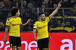 14.02.2020, Signal Iduna Park, Dortmund, GER, 1. BL, Borussia Dortmund vs Eintracht Frankfurt, DFL regulations prohibit any use of photographs as image sequences and/or quasi-video<br /> <br /> im Bild / picture shows / Raphael Guerreiro (#13, Borussia Dortmund) jubelt nach seinem Tor zum 4:0<br /> <br /> Foto © nordphoto/Mauelshagen
