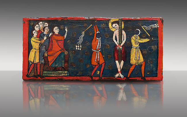 Romanesque painted Beam depicting The Passion and the Stations of the Cross<br /> <br /> Around 1192-1220, Tempera on wood from Catalonia, Spain.<br /> <br /> Acquisition of Museums Board's campaign in 1907. MNAC 15833.<br /> <br /> It is not known what was the original location of the beam, but it might have been part of the structure of a canopy. In any case, it was reused in a ceiling, as evidenced by the cuts that are at the top. It is decorated with seven scenes from the Passion and Resurrection of Christ, this scene shows Christ being whipped on the road to Calvary. The narrative character in the images and the predominance of yellow is typical of Catalan painting of the 1200's,  specifically with illustrations of Liber Feudorum Maior, a late twelfth-century illuminated cartulary book style of the Crown of Aragon