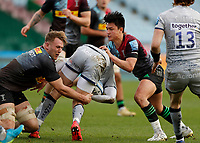 20th February 2021; Twickenham Stoop, London, England; English Premiership Rugby, Harlequins versus Sale Sharks; Connor Doherty of Sale Sharks is tackled by Marcus Smith and Alex Dombrandt of Harlequins