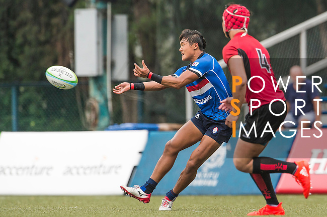 Jonghyun Park (l) of South Korea in action during the match between South Korea and Singapore of the Asia Rugby U20 Sevens Series 2016 on 12 August 2016 at the King's Park, in Hong Kong, China. Photo by Marcio Machado / Power Sport Images