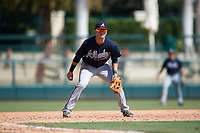 Atlanta Braves third baseman Jordan Rodgers (9) during an Instructional League game against the Baltimore Orioles on September 25, 2017 at Ed Smith Stadium in Sarasota, Florida.  (Mike Janes/Four Seam Images)
