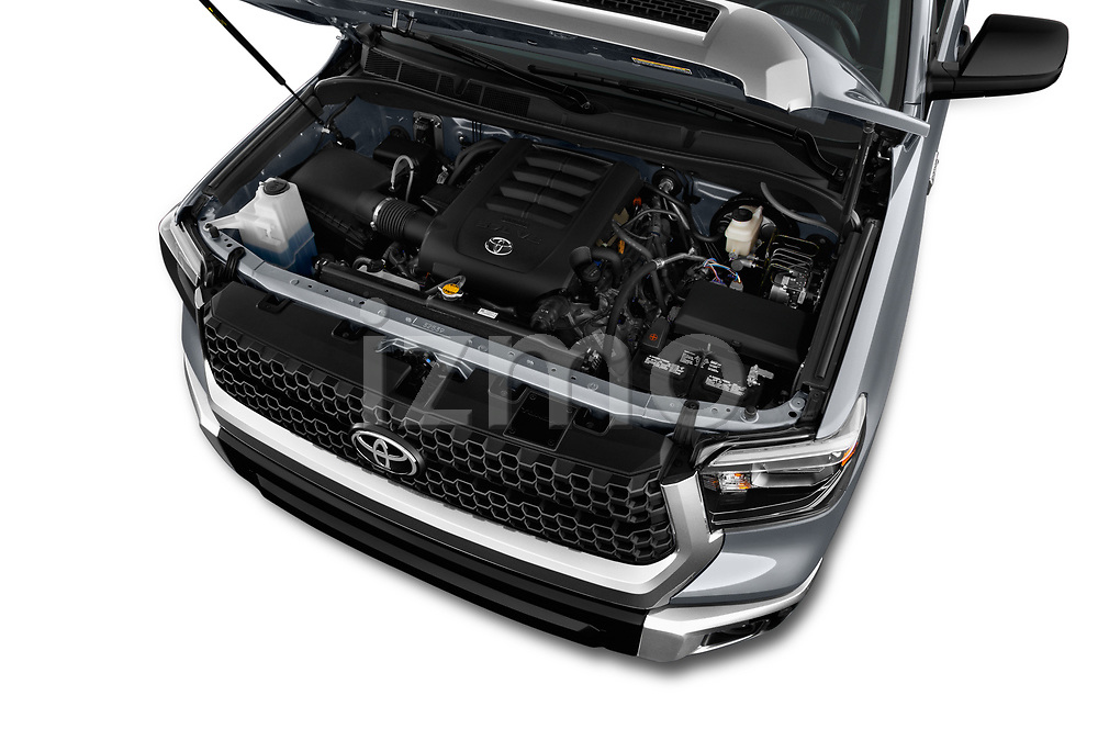 Car stock 2018 Toyota Tundra SR5 5.7L Crew Max 4WD Short Bed 4 Door Pick Up engine high angle detail view