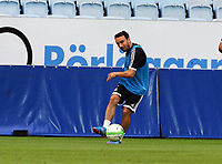 Wednesday 07 August 2013<br /> Pictured: Leon Britton training athe the Malmo FF Stadium, Sweden.<br /> Re: Swansea City FC travelling to Sweden for their Europa League 3rd Qualifying Round, Second Leg game against Malmo.
