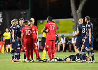 LAKE BUENA VISTA, FL - JULY 26: Players gather after Jozy Altidore of Toronto FC knocks down an opponent during a game between New York City FC and Toronto FC at ESPN Wide World of Sports on July 26, 2020 in Lake Buena Vista, Florida.