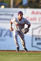 Auburn Doubledays second baseman Bryan Mejia (1) during a game against the Batavia Muckdogs on August 27, 2014 at Dwyer Stadium in Batavia, New York.  Auburn defeated Batavia 6-4.  (Mike Janes/Four Seam Images)