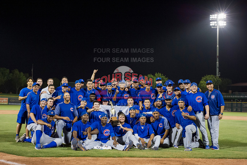2017 Arizona League Champions AZL Cubs celebrate after defeating the AZL Giants on September 7, 2017 at Scottsdale Stadium in Scottsdale, Arizona. AZL Cubs defeated the AZL Giants 13-3 to win the Arizona League Championship Series two games to one. (Zachary Lucy/Four Seam Images)