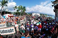 finish line for triathletes at the Ironman Triathlon, 2.4 mile swim, 112 mile bike, 26.2 mile run, Big Island, Hawaii, Pacific Ocean