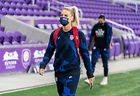 ORLANDO, FL - JANUARY 18: Julie Ertz #8 of the USWNT walks into the venue before a game between Colombia and USWNT at Exploria Stadium on January 18, 2021 in Orlando, Florida.