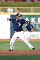 Lake County Captains second baseman Claudio Bautista (10) throws to first during a game against the Dayton Dragons on June 7, 2014 at Classic Park in Eastlake, Ohio.  Lake County defeated Dayton 4-3.  (Mike Janes/Four Seam Images)
