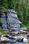 The remote Red River, a truly wild and scenic river in Idaho is an upper tributary of the Clearwater, a famous and remote trout stream.  Both are famous gold mining areas near Elk City, Idaho.  Natural stone face sculpture.