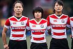 Riho Kurogi (l) and Ano Kuwai of Japan (c) during the Womens Rugby World Cup 2017 Qualifier match between Hong Kong and Japan on December 17, 2016 in Hong Kong, Hong Kong. Photo by Marcio Rodrigo Machado / Power Sport Images