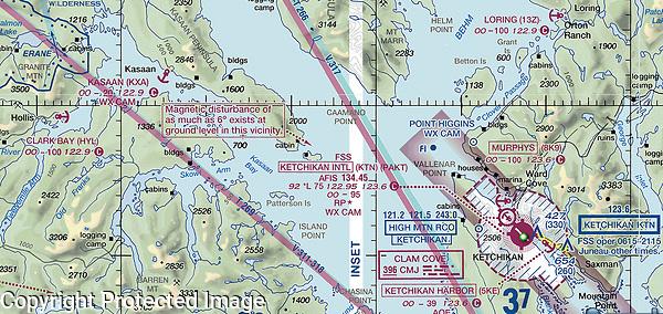 This NOAA FAA aviation sectional chart shows the location of the six seaplane bases at or near Ketichikan International airport (KTN) including Kaasan (KXA), Clark Bay (HYL) and Loring Bay (13Z), Ketchican, Ketchican Gateway Borough, Alaska