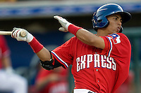 Round Rock Express outfielder Leonys Martin #40 at bat during a game against the New Orleans Zephyrs at the Dell Diamond on July 20, 2011 in Round Rock, Texas.  New Orleans defeated Round Rock 14-11.  (Andrew Woolley/Four Seam Images)