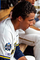 Michigan Wolverines pitcher Isaiah Paige (25) in the dugout before Game 1 of the NCAA College World Series against the Texas Tech Red Raiders on June 15, 2019 at TD Ameritrade Park in Omaha, Nebraska. Michigan defeated Texas Tech 5-3. (Andrew Woolley/Four Seam Images)