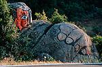 Italie. Italia. Sardaigne. Sardinia.Peintures murales (murales) politiques  dans les rues du village d'Orgosolo. propriétaire foncier en mauvaise posture à l'entrée du village