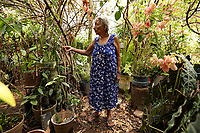 Alvaro Obregón, Chiapas, Mexico - Doña Demetría Gutiérrez Rendón, 82, at her home, Alvaro Obregón, Chiapas, Mexico, Sunday, May 5, 2019.  Doña Demetría has been farming cacao on her Rancho Paraíso for over 60 years; talks to her plants and believes that all living creatures have a right to live.<br /> <br /> PICTURED:  <br /> <br /> <br /> (Angel Chevrestt, 646.314.3206)